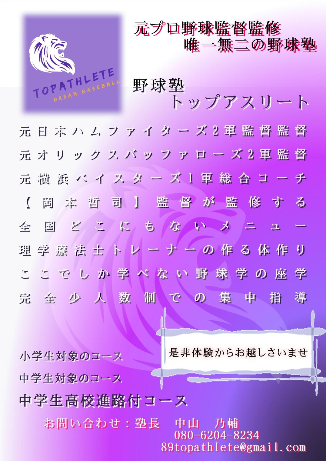 野球塾・トップアスリート 堺市南区の小中学校